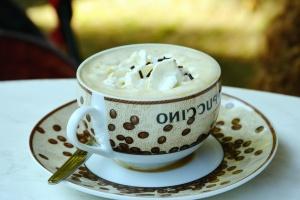 Tasse, cappuccino, crème, mousse, cuillère, boisson, chaud