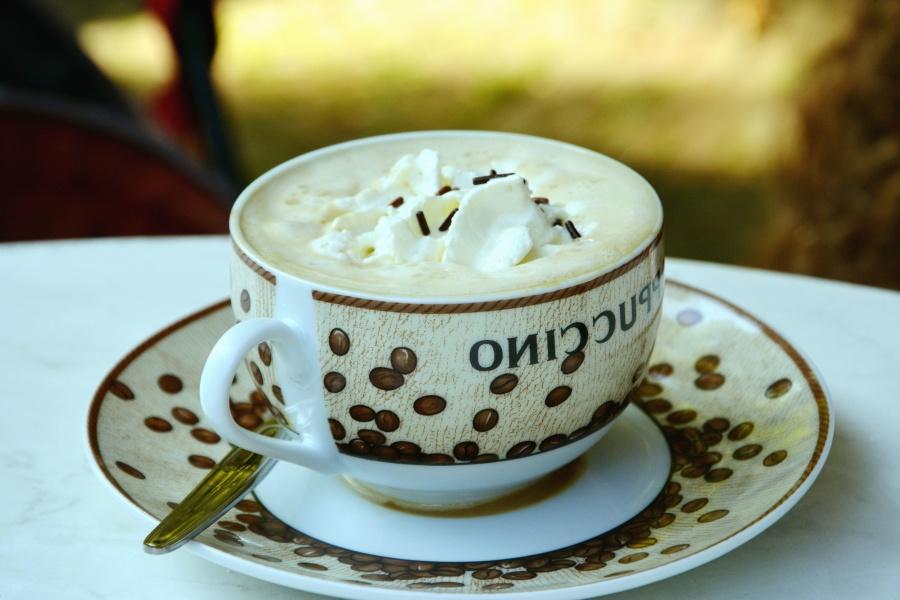 Taza, cappuccino, crema, espuma, cuchara, bebida, tibio
