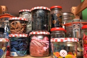 jar, glass, button, fabric