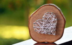wood, rope, heart, art, grass