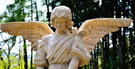 sculpture, art, angel, tree, park, wing