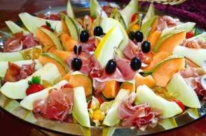 salad, melon, olive, decoration, food, ham