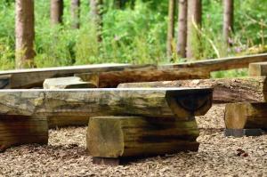 bangku, kayu, hutan, tanah, alam, semak