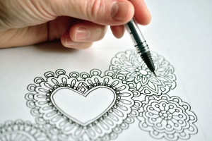drawing, art, ink, heart