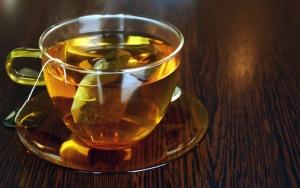 Té, bolsa de té, caliente, bebida, tabla, madera