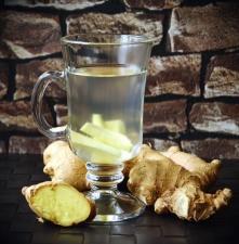 Jengibre, raíz, planta, taza, jugo de fruta