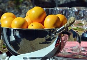 orange, bowl, metal, fruit, glass