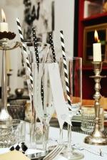 Verre, bougie, table, chandelier, décoration