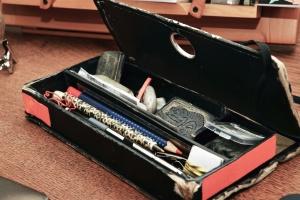 pencil box, pencil, table, box, cardboard