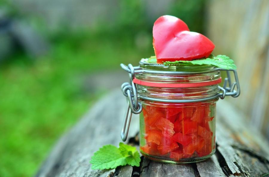 Corazón, sandía, tarro, comida, vegetal, hoja