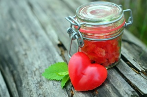 Еда, овощей, листьев, стекло, сердце, арбуз, банку