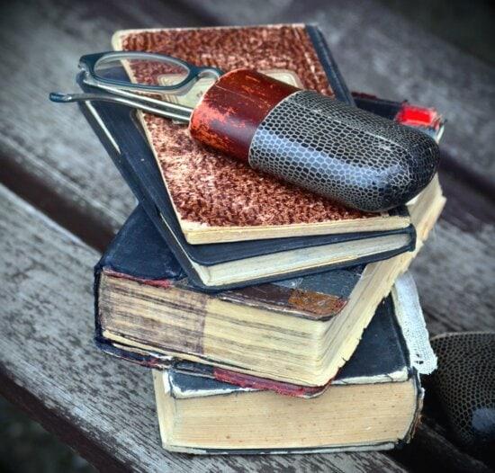 Holz, Buch, Brillen, Lesen, Bank