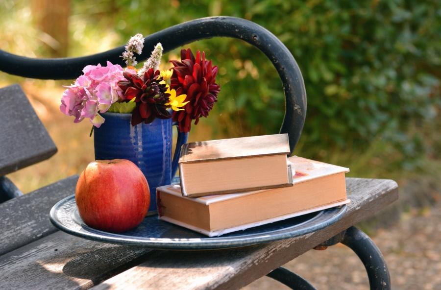 Bank, Apfel, Buch, Blume