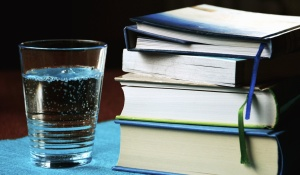 glass, water, book, learning, study, science