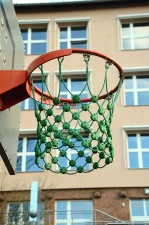 Basket-ball, filet, cerceau, corde, bois, sport