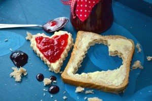 jam, jar, bread, food, heart, decoration
