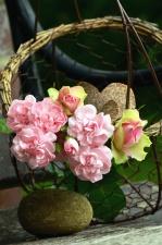 Fleur, pierre, panier, nature morte, pétale