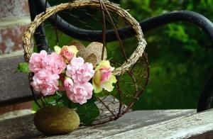 Décoration, bouquet, bois, métal, fleur, panier