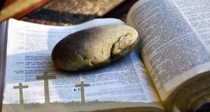 book, stone, cross, christianity, religion, photomontage