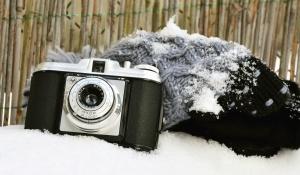 fotoaparat, objektiv, analogni, starinski, retro, mehanizam, snijeg