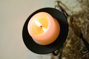 candle, flame, metal, candlestick, wax