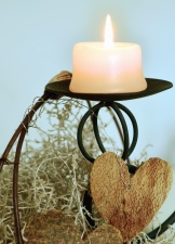 candle, candlestick, wax, hot, flame, heart, decoration