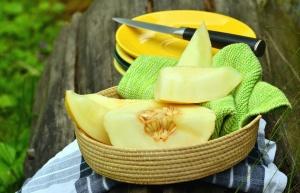 Teller, Messer, Melone, Obst, Samen, Korb