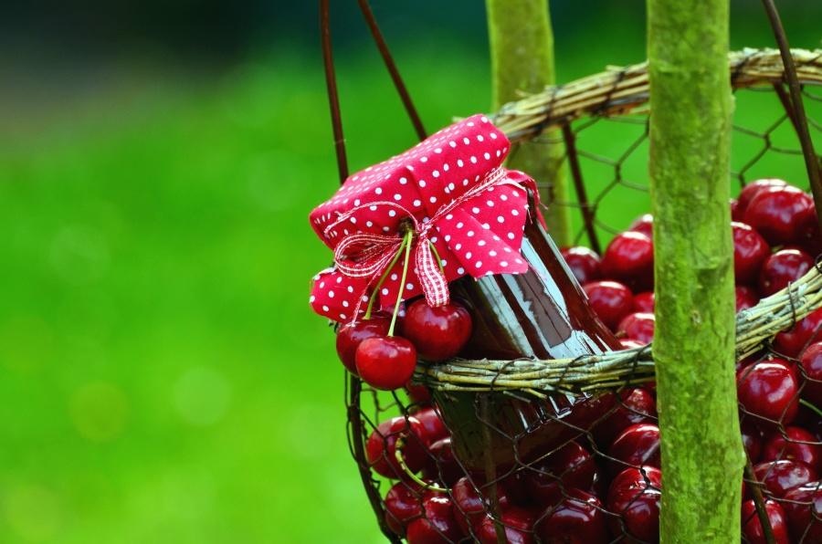 basket, jar, jam, cherry, fruit, food, wood