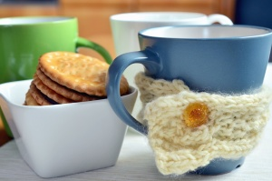 Keks, Schüssel, Tasse, Essen, gestrickt, Dekoration