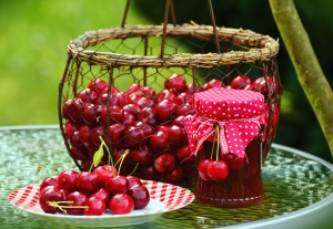 cherry, spring, basket, jam, jar, food, table