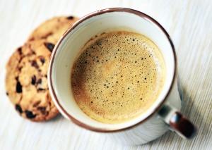 Cerámica, taza de café, pastel, comida, desayuno