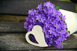 Fleur, romance, pétale, bouquet, bois, table