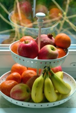 bowl, banana, apple, tangerine, fruit, food