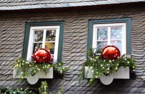 Decorazione, finestra, tetto, casa, natale