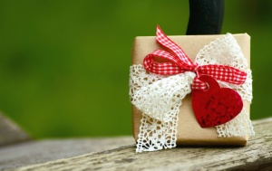 gift, heart, ribbon, wood, table