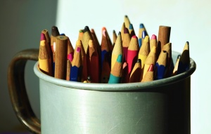 pencil, color, colorful, paint, cup, ceramics