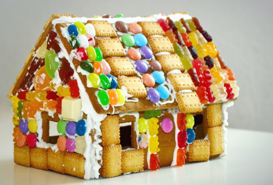 Galleta, dulces, casa, decoración, dulce