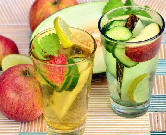 apple, juicem mint, water, glass, cucumber, refreshment
