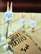 label, glass, water, clothespin, decoration, bunny