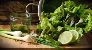 lemon, lettuce, onions, vegetables, table, jar