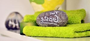 πετσέτα, ετικέτα, πέτρα, διακόσμηση