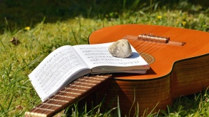 music, stone, grass, guitar, musical notes, string