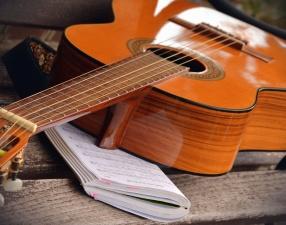 řetězec, kytara, hudební poznámky, hudbu, umění, copybook