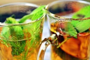 čaj, sklo, horúce, mäty, nápoj