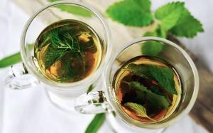 mäta, voda, sklo, čaj, bylinkové