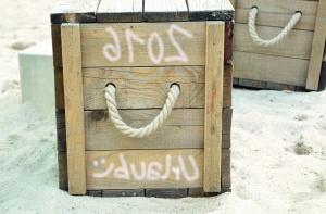 rope, box, pack, sand, beach