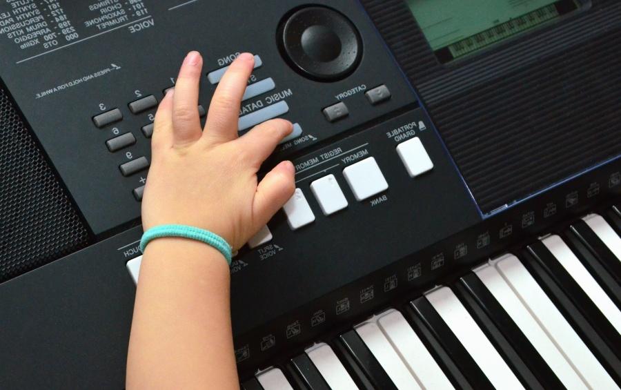 music, instrument, synthesizer, clavier, button, hand, child