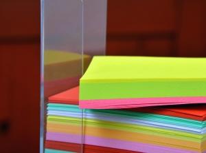 rack, plastic, paper, notes, color, colorful