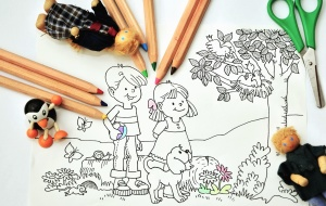 crayon, drawing, pencil, boy, girl, scissors, doll