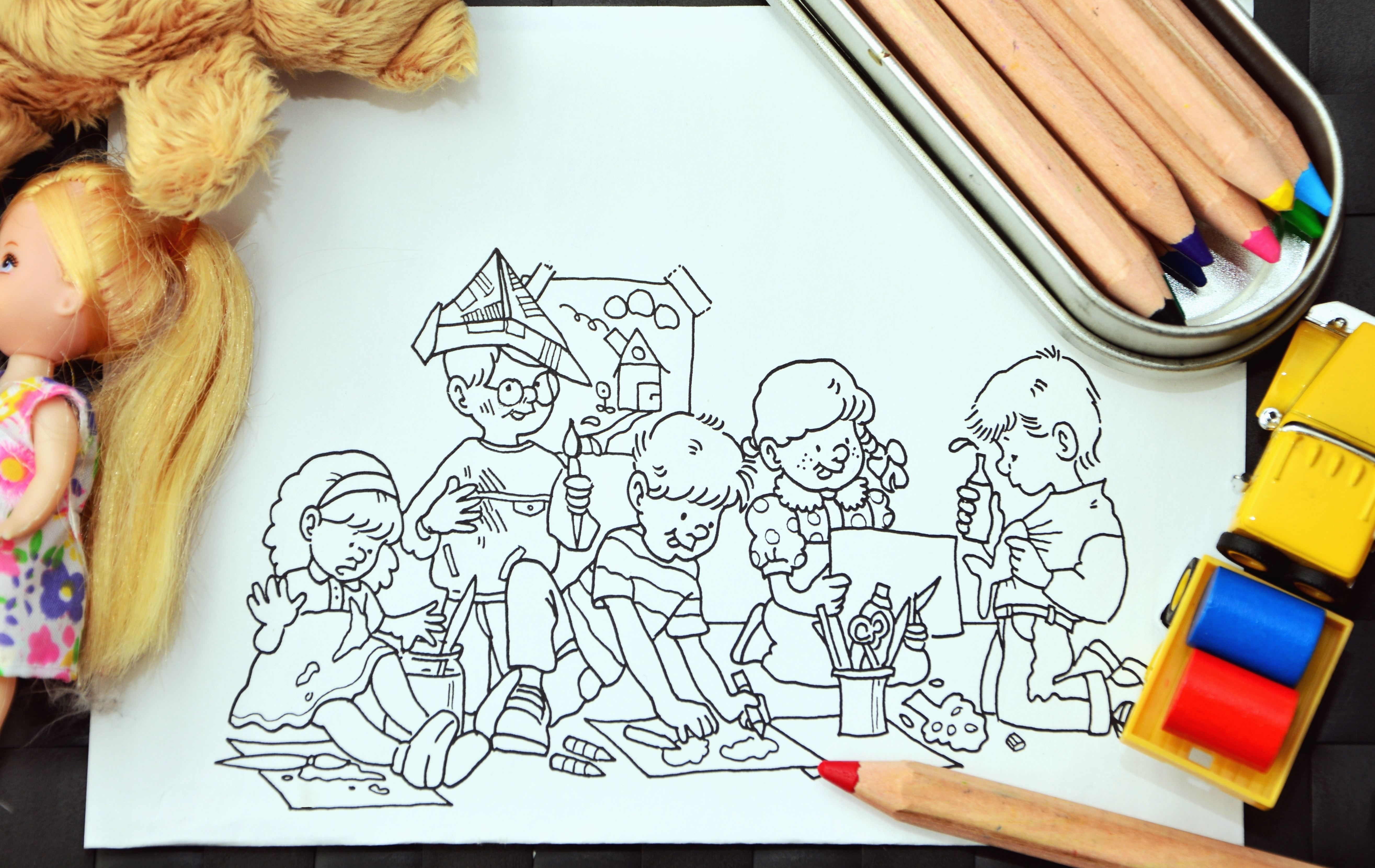 Drawingcolor Free Picture Child Boy Girl Drawing Color Paper Doll Truck